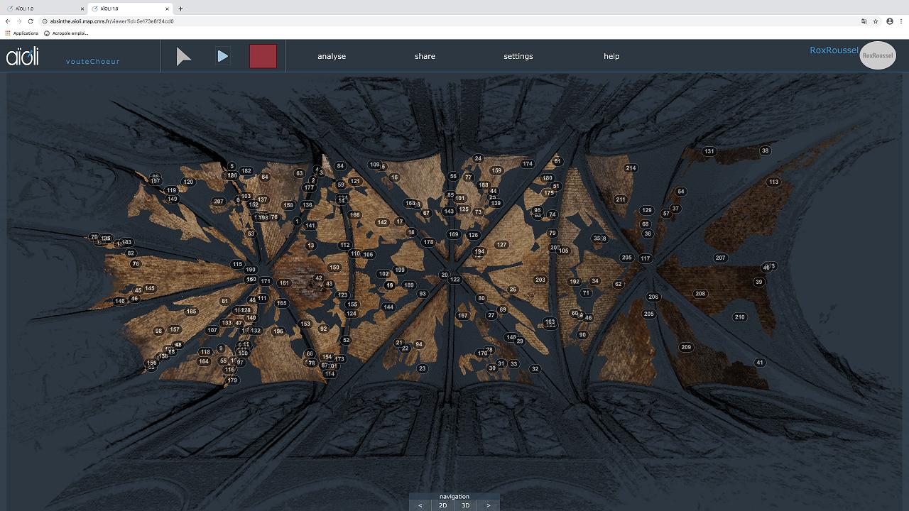 Spatialisation sur le nuage de points 3D des altérations relevées sur les voûtes du chœur de la cathédrale Notre-Dame de Paris, après l'incendie du 15 avril 2019, via la plateforme Aïoli, à partir des photographies réalisées en octobre 2019 par l'entreprise Bestrema. Cette capture est issue de la plateforme d'annotation sémantique 3D Aïoli développée par le laboratoire MAP