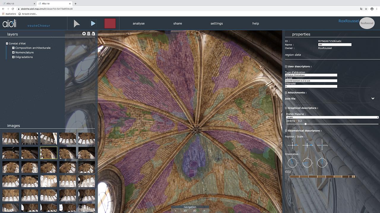 Annotation 2D/3D des altérations relevées sur les voûtes du chœur de la cathédrale Notre-Dame de Paris, après l'incendie du 15 avril 2019, via la plateforme Aïoli, à partir des photographies réalisées en octobre 2019 par l'entreprise Bestrema. Cette capture est issue de la plateforme d'annotation sémantique 3D Aïoli développée par le laboratoire MAP