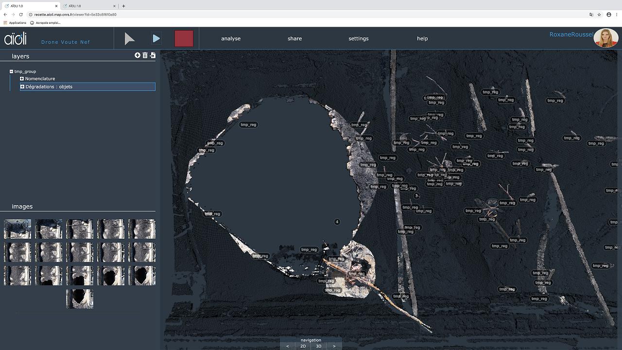 Spatialisation sur le nuage de points 3D des restes de la charpente sur l'extrados des voûtes de la nef de la cathédrale Notre-Dame de Paris, après l'incendie du 15 avril 2019. Cette spatialisation est réalisée à partir des photographies issues du relevé drone de l'entreprise Art Graphique & Patrimoine pour la DRAC Ile-de-France en 2019. Cette capture est issue de la plateforme d'annotation sémantique 3D Aïoli développée par le laboratoire MAP © Roxane ROUSSEL / MAP / Chantier Scientifique Notre-Dame de Paris / Ministère de la Culture / CNRS