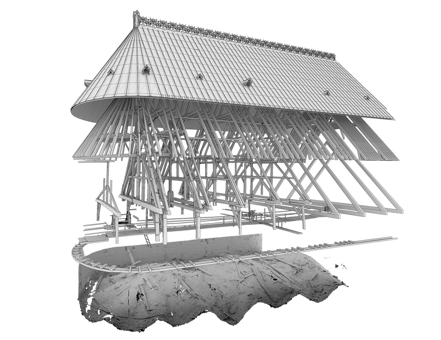 Vue éclatée de la restitution 3D de la charpente disparue du chœur et de ses restes, sur l'extrados des voûtes de la cathédrale Notre-Dame de Paris, orientée nord-est. Elle est réalisée à partir du relevé lasergrammétrique menée par Archeovision en mars 2020 et des relevés de Rémi Fromont et Cédric Trentesaux (modélisation en cours)